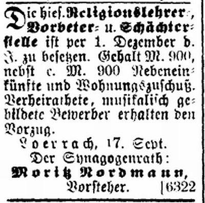 """Stellenangebot aus der Zeitschrift """"Der Israelit"""" vom 5.10.1899"""