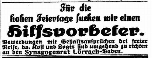 """Stellenangebot aus der Zeitschrift """"Der Israelit"""" vom 7.8.1924"""